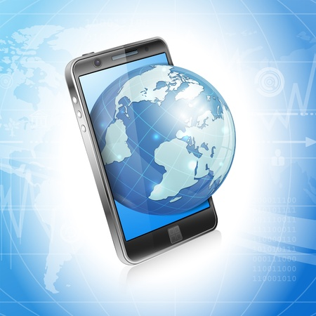 smartphone business: Modern Technology Business Concept - Smartphone with 3D World Map on Screen, vector