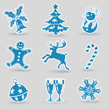 Set Christmas Icons with Tree, Snowman, Candy, Snowflake, vector Stock Vector - 23103562