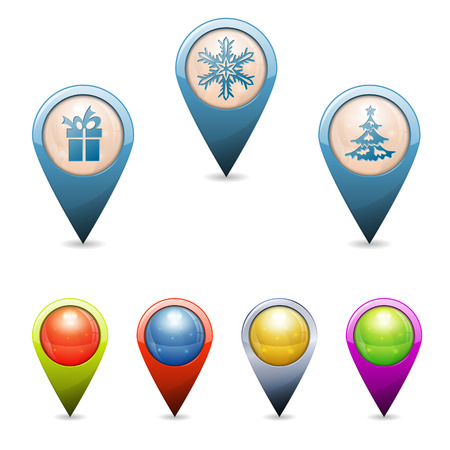 places of interest: Set 3D Christmas Pointers with Icons - Tree, Gift, Snowflake, isolated. Easily Change the Color