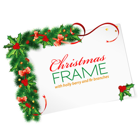 Christmas Frame with Holly Berry, Fir Branches, Mistletoe, Streamer and Sheet Paper, vector illustration Stock Vector - 23103563