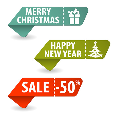 Collect Christmas Signs with Tear-off Coupon, vector illustration Stock Vector - 23103564