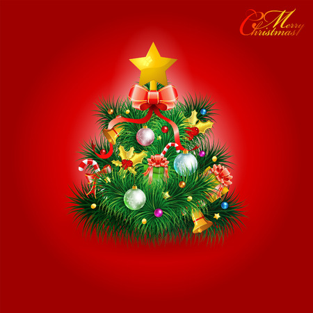Christmas Tree with Candy, Fir Branches, Mistletoe and Gift on Red Background, vector illustration Stock Vector - 23103566