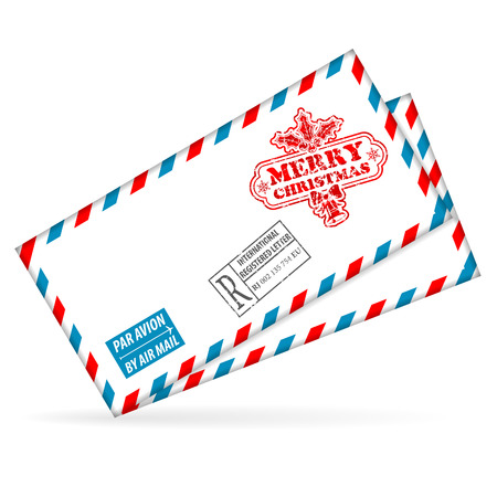 Christmas Mail with Envelope, Stamp, vector isolated on white background Stock Vector - 23103568