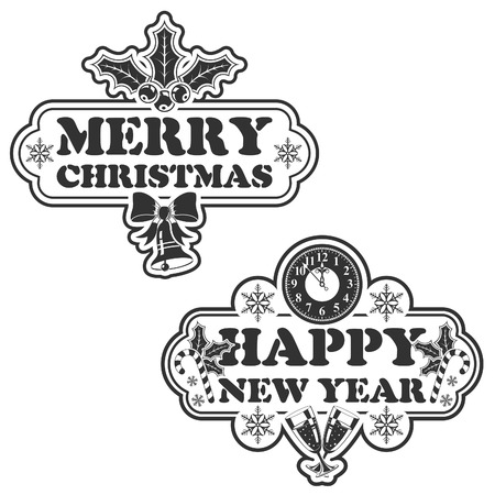 Christmas and New Year Stamp with Bell and Snowflake, Isolated on White Background Vector
