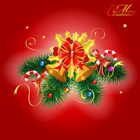 Christmas Bell and Fir Branches with Candy on Red Background, vector illustration Stock Vector - 23103569