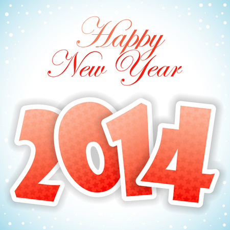 New Year Greeting Card with 2014 number pattern, vector illustration Stock Vector - 23103570