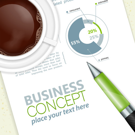 rollerball: Business and Corporate Work Concept with Pen and Coffee Cup, vector