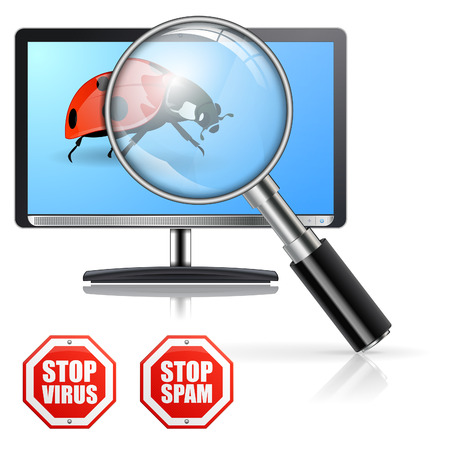 Protection from Viruses and Spam Concept with Magnifying Glass over the Monitor, bug and signs Stock Vector - 23103571