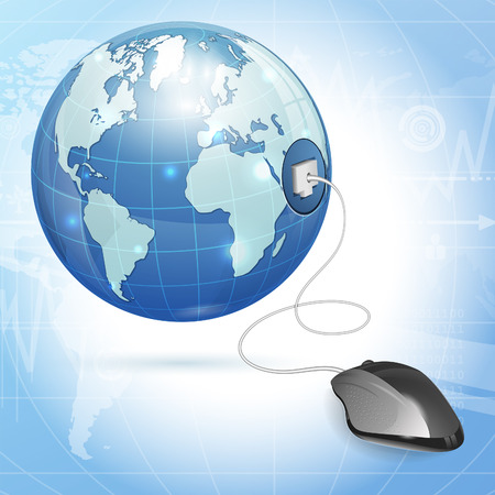 Computer Concept - Mouse Connected to Earth, vector illustration Stock Vector - 23103576