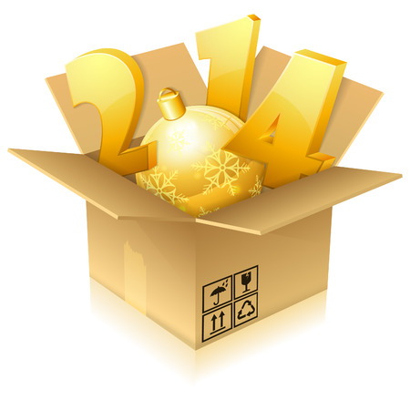 New Year's 2014 numbers in Cardboard Box, icon isolated on white, vector illustration Stock Vector - 23103575
