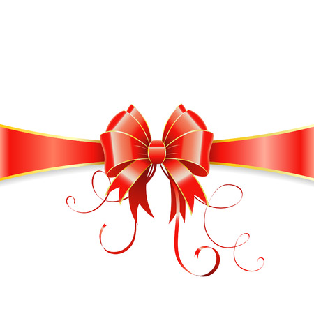 Frame of the Bow and Ribbons on Holiday Isolated on White, vector illustration Stock Vector - 23103577