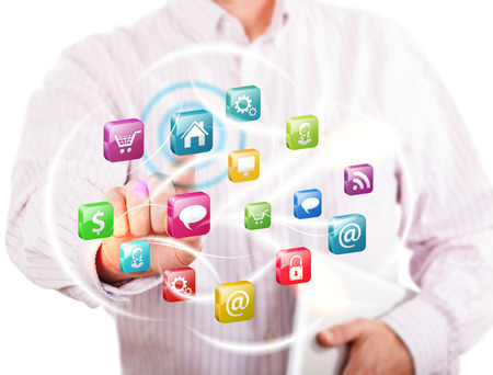 Business Concept - Man Touching the Screen with Cloud Technologies and Icons Stock Photo - 23103558