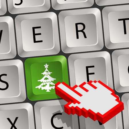 Computer keyboard with a Christmas key with Tree and Pixel Hand Cursor, vector Stock Vector - 23292444