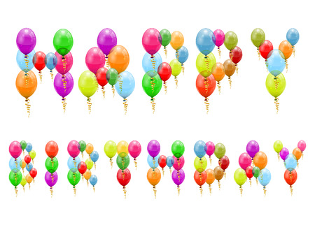 Happy Birthday Text made %u200B%u200Bup of Balloons, vector isolated on white Stock Vector - 23292449