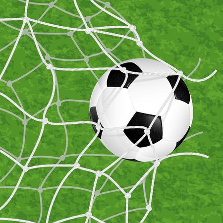 Soccer Concept - Goal. Soccer Ball in Net Torn on textured grass background, vector illustration Stock Vector - 23292452