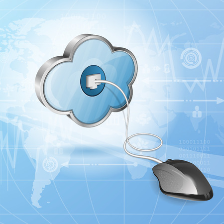 Cloud Computing Concept - Mouse Connected to Cloud, vector illustration Stock Vector - 23654190