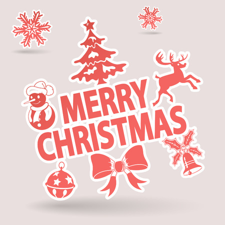 Christmas Sticker with Tree, Snowman, Deer, Bell and Snowflake Stock Vector - 23659972