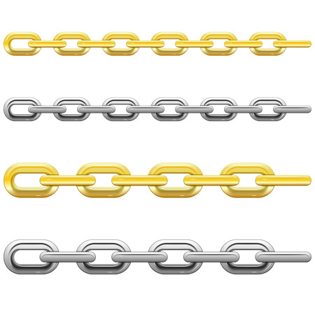 Set of gold and steel chains, isolated on white background, vector Stock Vector - 23659978
