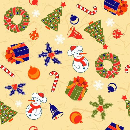 brown rice: Christmas Seamless Background on Rice Paper with snowflake, bell, tree, wreath, vector illustration Illustration