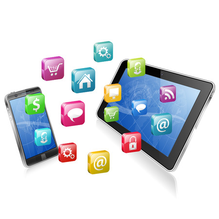 tablette pc: Concept d'affaires avec Tablet PC, Smartphone et ic�nes d'application, illustration vectorielle Illustration