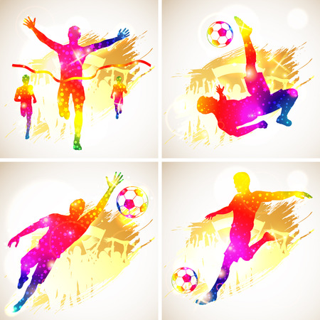 soccer fans: Bright Rainbow Silhouette Soccer Player and Winner Man with Fans on grunge background, vector illustration