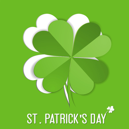 goodluck: St. Patrick Day sticker with leaf Shamrock (Clover), vector illustration