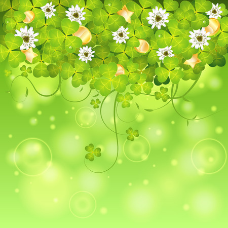 St. Patrick Day Frame with Clover Leaf, Gold Coins and Flowers, vector illustration Vector