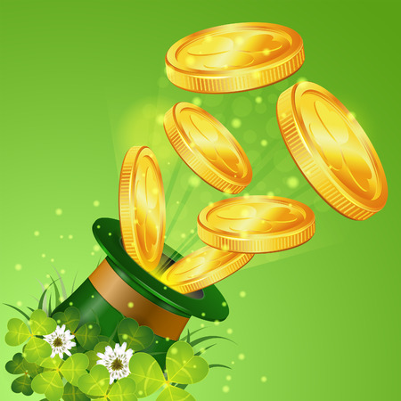 St. Patrick Day Concept with Magician Hat, Gold Coins, Clover Leaf, and Flowers, vector illustration Vector