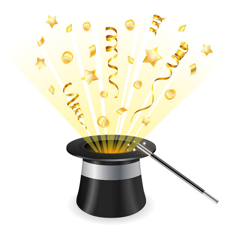 magician: Birthday Concept - Magician Hat with Gold Streamer and Confetti, vector icon isolated on white background