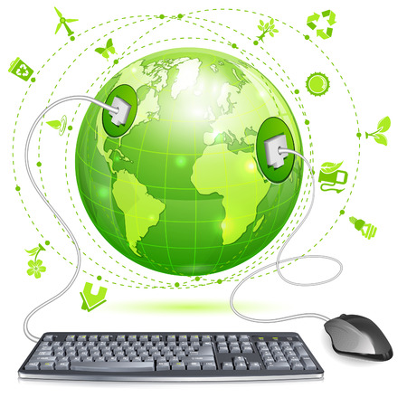 Mouse and Keyboard Connected to Earth with Environment Icons, vector illustration isolated on white background Vector
