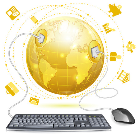 Mouse and Keyboard Connected to Earth with Finance Icons, vector illustration isolated on white background Vector