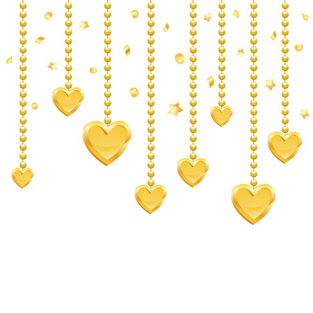 vector hearts: Valentines Day Background with Gold Hearts, Stars, Coins and Confetti, vector isolated on white background Illustration