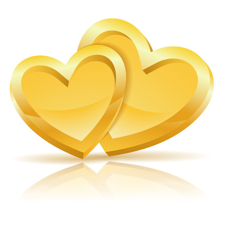 two hearts: Valentines Day Concept with Two Gold Hearts isolated on white background, vector illustration