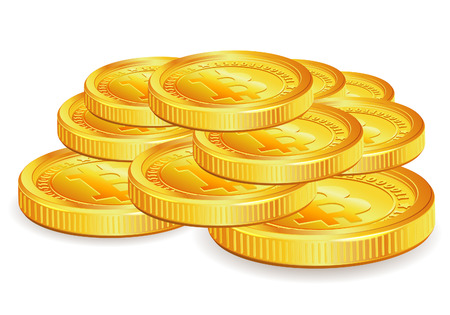 gold mining: Stack of Gold Bitcoins, vector isolated on white background
