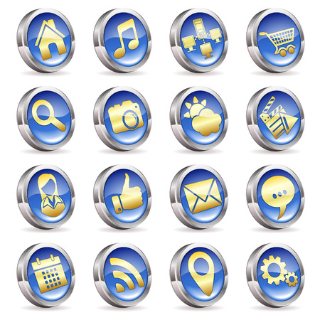 Collect Applications Icons on 3D Buttons, vector isolated on white background
