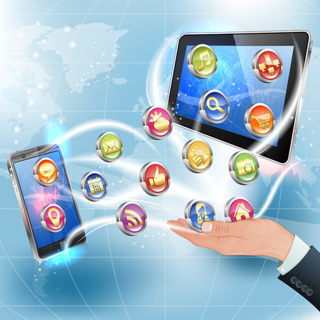 tablet pc in hand: Business Concepts. Hand with Application Icons for Smartphone and Tablet PC on Abstract Background Illustration