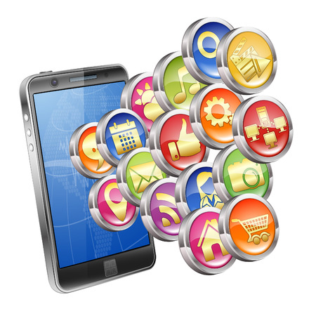 smartphone business: Business Concept with Smartphone and Application icons, isolated on white background