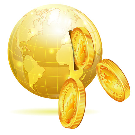 Global Financial Concept with Money Bitcoins and Earth, vector icon isolated on white Vector