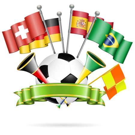 Fußball-Poster mit Fußball, Fahnen, Vuvuzela und Band, Vektor isoliert auf weißem Hintergrund