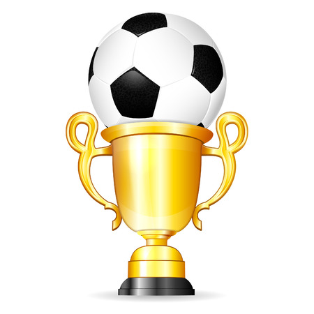 Soccer Poster with Soccer Ball and Gold Trophy, vector isolated on white background Vector