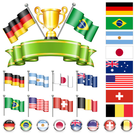collect: Soccer World Championship 2014 Collect with Flags, Gold Cup, Ribbon and Flags, isolated vector. Part 1 of 4.