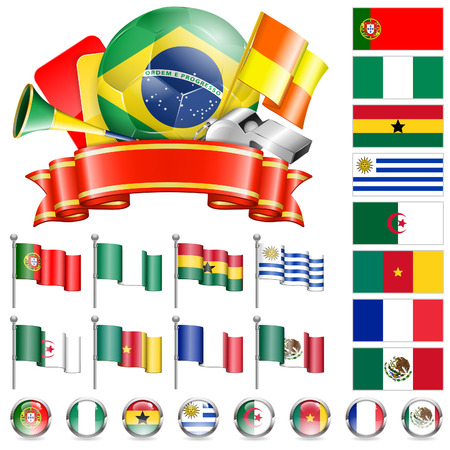collect: Soccer World Championship 2014 Brazil Collect with Flags, Ball, Ribbon and Flags, isolated vector. Part 4 of 4. Illustration