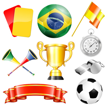 world cup: Soccer Symbols with Brazil Ball, Ribbon, Flag and Trophy, isolated on white background vector