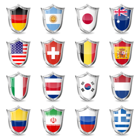 collect: Soccer World Championship 2014 Collect Flags on Shields, isolated vector. Part 2 of 2. Illustration