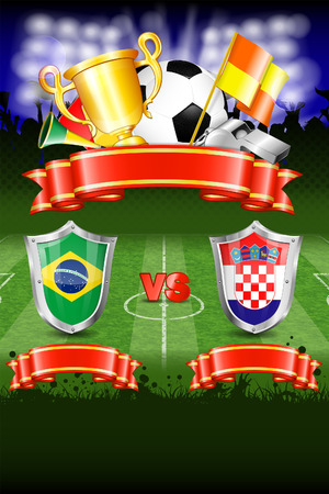 Soccer Poster World Championship 2014 Brazil with Shields, Ball, Ribbon, Cup, Fans and Flags, vector Vector