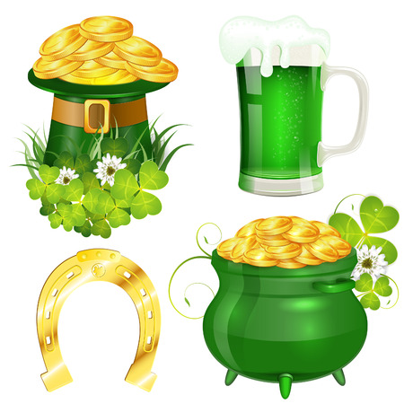 green beer: St. Patrick Day Symbols with Hat, Gold Coins, Clover Leaf, Pot, Horseshoe and Glass of Beer, vector isolated on white background Illustration
