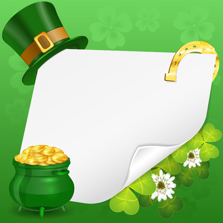 golden pot: St. Patrick Day Poster with Sheet of Paper, Pot, Gold Coins, Hat, Horseshoe and Clover, vector