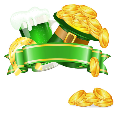 St. Patrick Day Poster with Ribbon, Hat, Gold Coins, Horseshoe and Glass of Beer, vector isolated on white background Vector