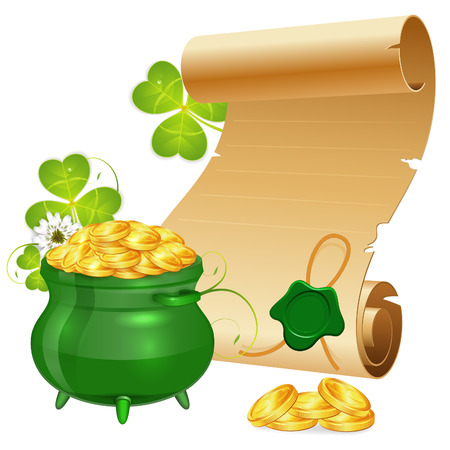 17th march: St. Patrick Day Poster with Manuscript, Pot, Gold Coins and Sealing Wax, vector isolated on white background Illustration
