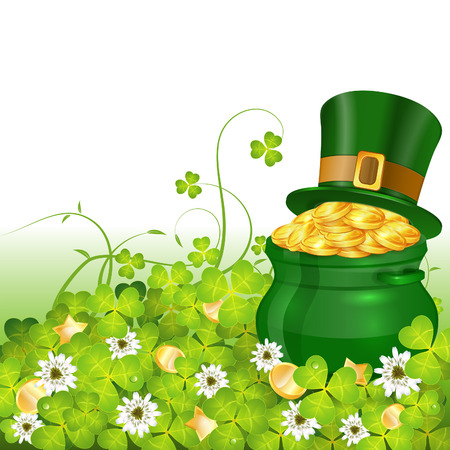 St. Patrick Day Poster with Pot, Gold Coins, Hat and Clover, vector Vector